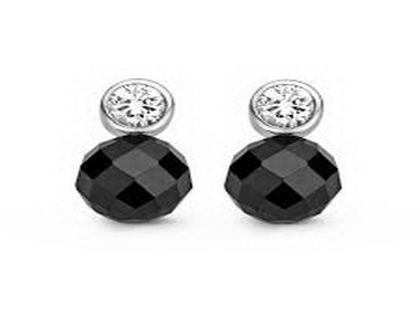 Silver Cubic and Onyx Earrings
