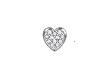 18K White Gold Heart with Diamonds