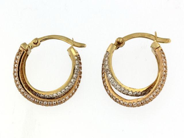 10KT Tri Color Gold Hoop Earrings