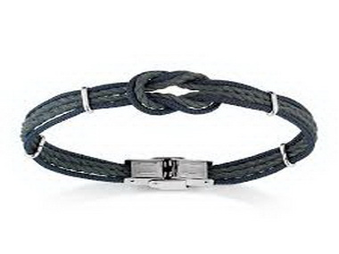 Silver and Knotted Blue Linen Bracelet