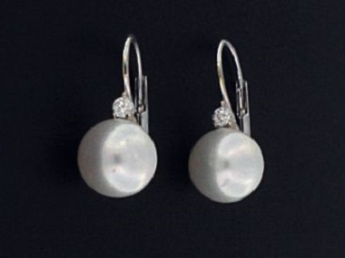Pearl and Diamond French Back Earrings