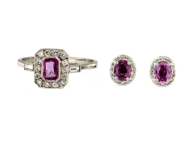 Pink Sapphire Ring & Earrings