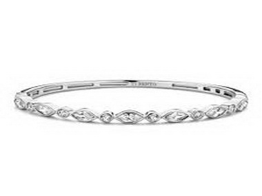 Silver and Marquise Cubic Bangle