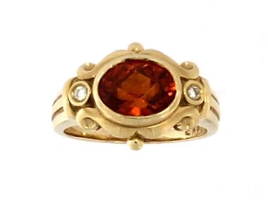 Spessartite Garnet & Dia. Ring