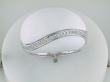 White Onyx & Diamond Ring