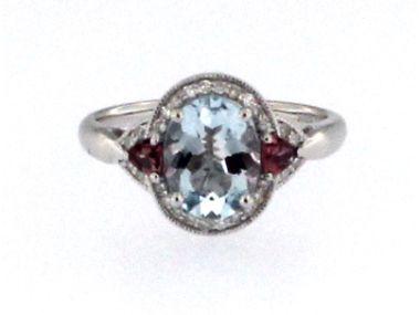 Aqua, Tourmaline & Dia Ring