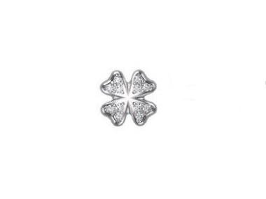 18K White Gold Clover with Diamonds