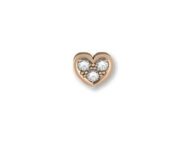 18K Rose Gold Heart with Diamonds