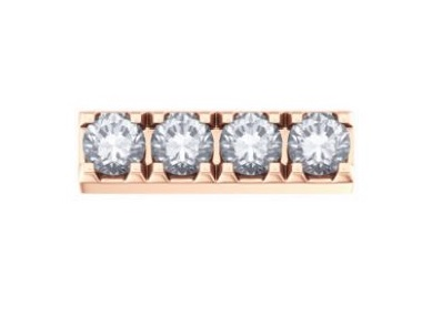 18K Rose Gold Quad Pave
