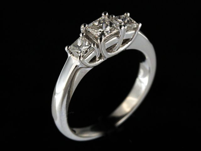 0.81 ctw Princess Trinity Ring