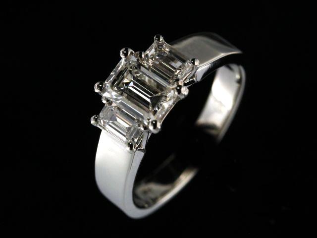 Emerald Cut Diamond Trinity Ring