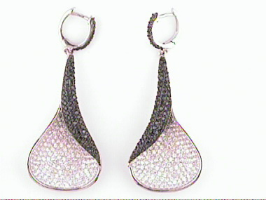Silver Black And White Earrings