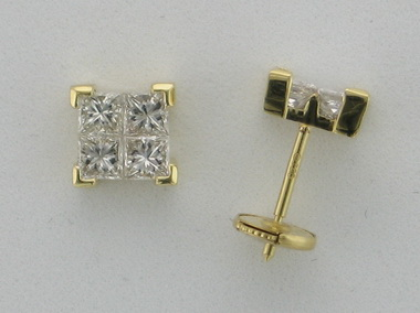 18kt Invisible Set Earrings