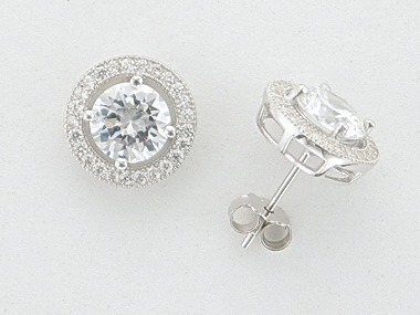 Silver And Cubic Earrings