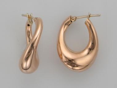 14KT red gold hoop earrings