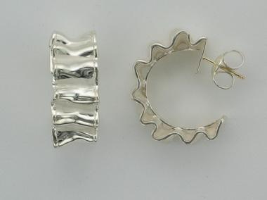 Ruffle Huggies Hoop Earrings
