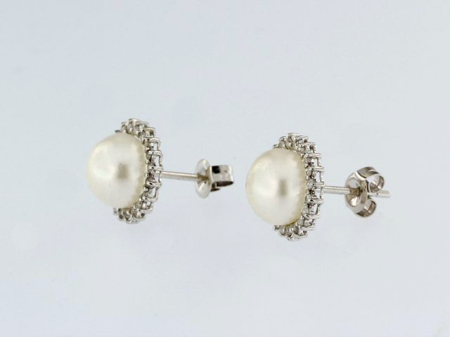 Freshwater Pearl & Diamond Earrings