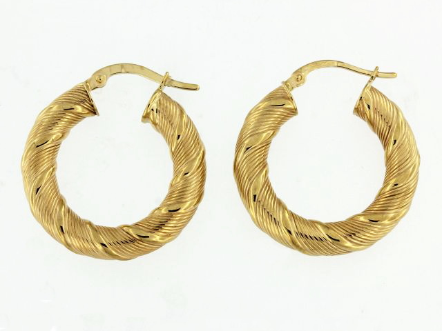 14KY Textured Hoop Earrings
