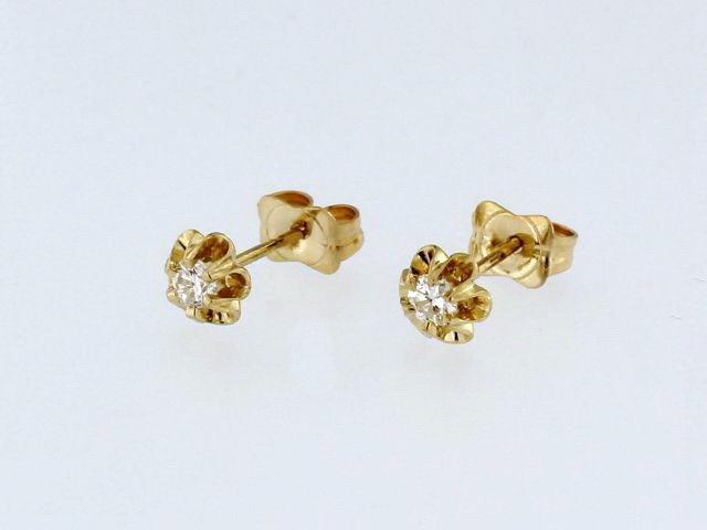 0.12 ctw Diamond Flower Earrings