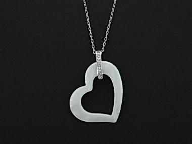 White Heart Pendant & Chain