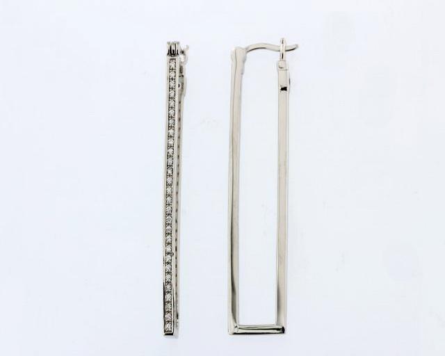 Silver Rectangular Hoop Earrings