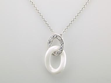 White Ceramic Curb Link Pendant
