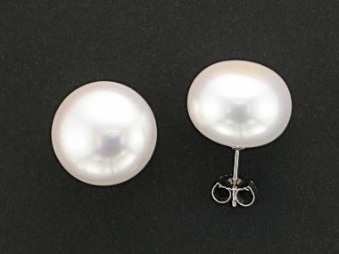 13 Mm Button Pearl Earrings