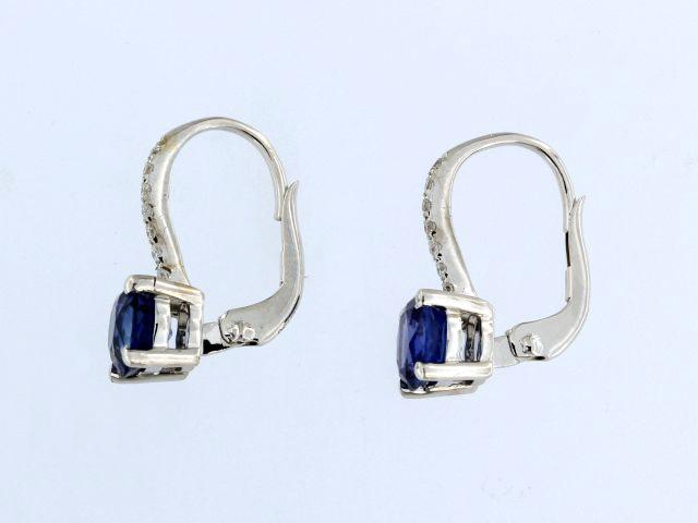 French Back Sapphire & Diamond Earrings