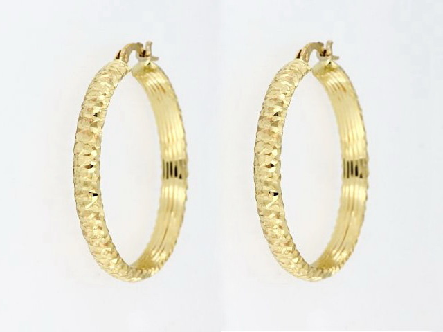 14KT Faceted Hoop Earrings