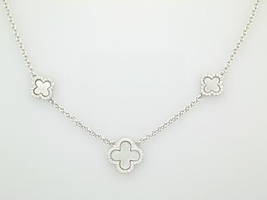 Silver Quatrefoil station necklace
