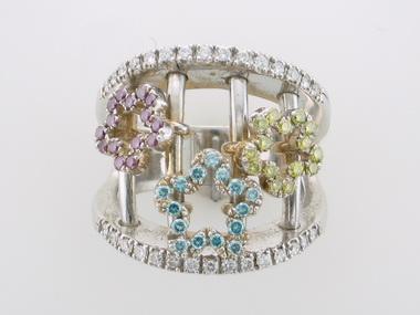 18k Coloured Diamond Floral Ring