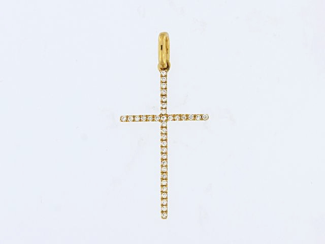 18KY Diamond Cross Pendant