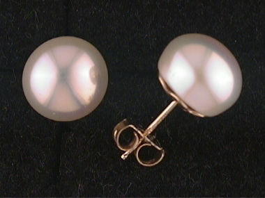 14ky F W Button Pearl Earrings
