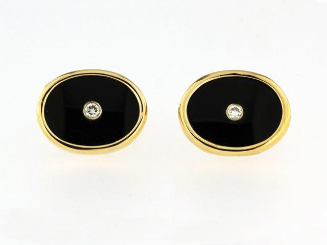 14ky Onyx & Diamond Cufflinks