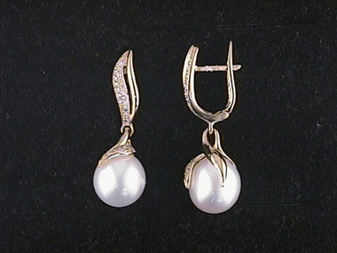 14kt .33ctw Pearl Drop Earrings