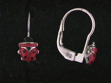 18kt Ladybug French Backs