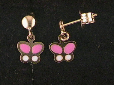 18kt Enamel Butterfly Earrings