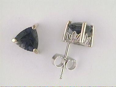6mm Trillion Iolite Stud Earrings