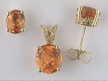 Spessartite Pendant And Earrings