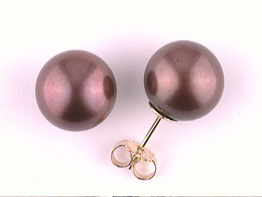 10- 10.5mm Chocolate Pearl Studs