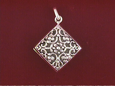Silver Square Floral Locket