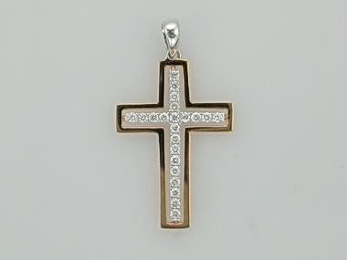 18kt Rose Gold Cross Diamonds