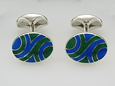 Green And Blue Oval Cufflinks