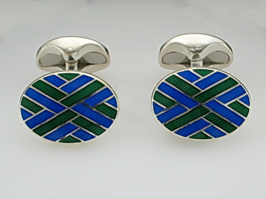 Blue And Green Oval Cufflinks