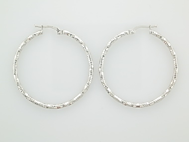 10KT white gold hoop earrings