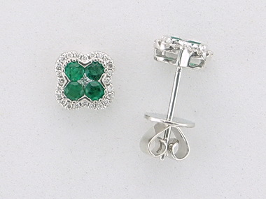 Emerald Quatrefoil Earrings