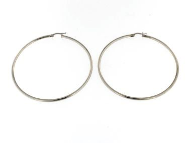 Large White Gold Hoops