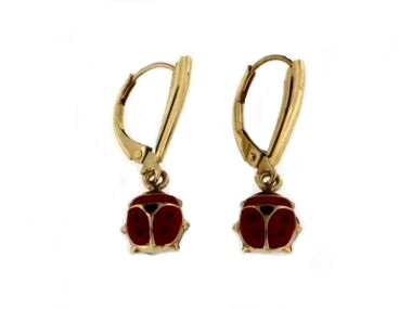 14KT Enamel Lady Bug Earrings
