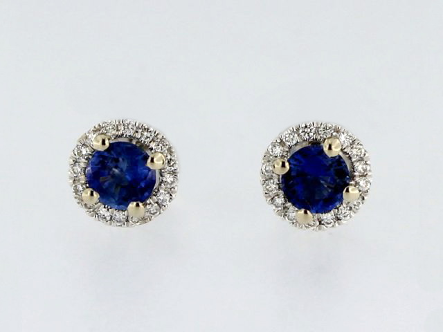 Halo Sapphire Earrings