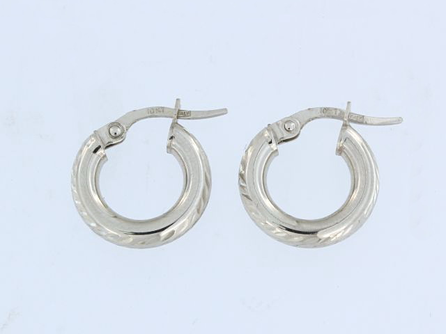 10KT White Gold Hoops